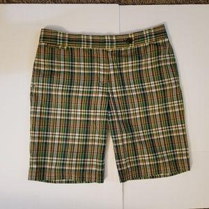 J Crew City Fit Plaid Shorts Size 10